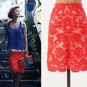 ANTHROPOLOGIE Baraschi Coral Embroidered Skirt
